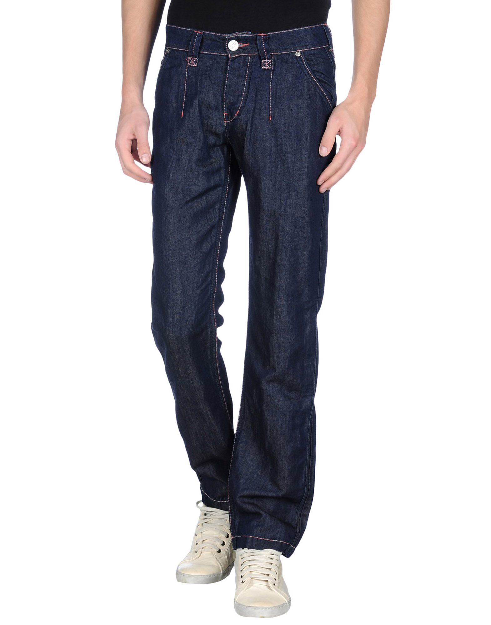armani denim trousers in blue for lyst