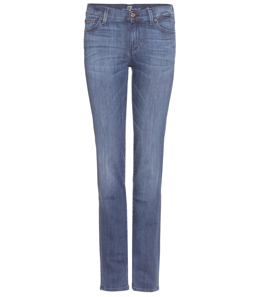 7 for all mankind the straight jeans in blue lyst. Black Bedroom Furniture Sets. Home Design Ideas