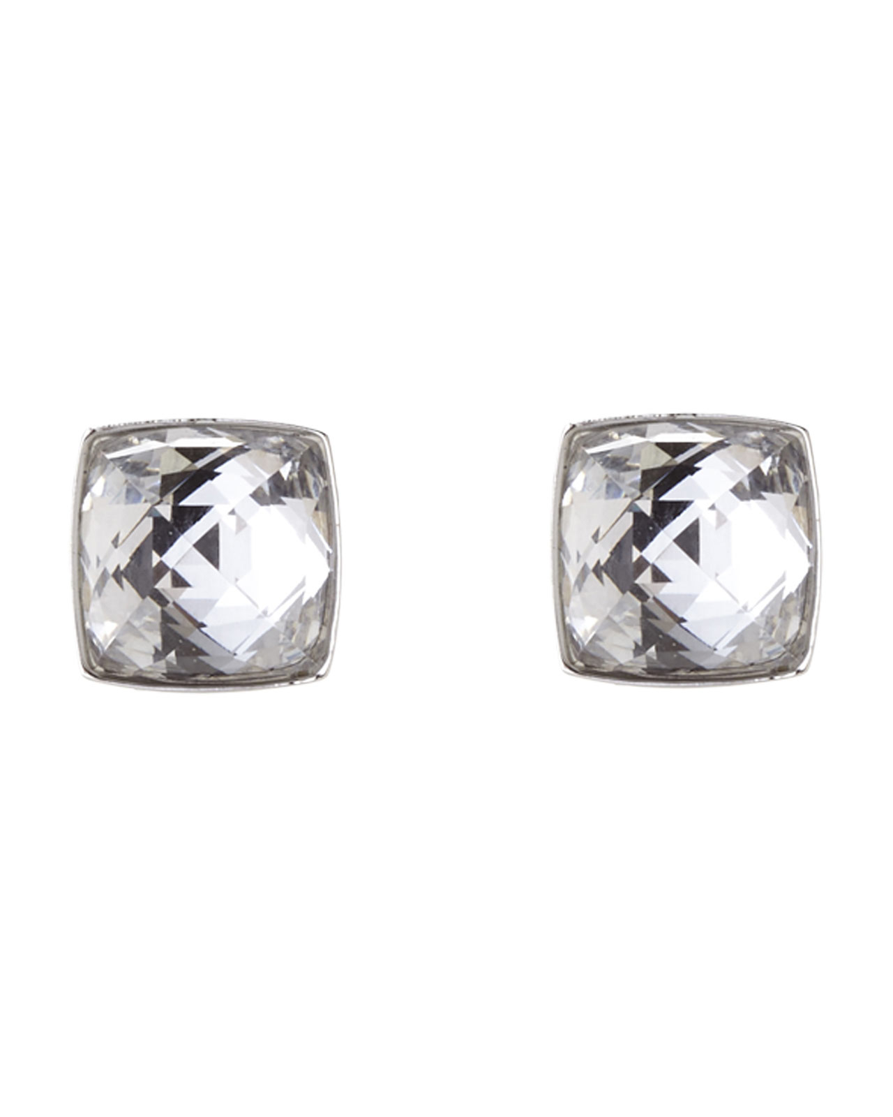 3bd627a11aab Lyst - Swarovski Silver-Tone Square Crystal Earrings in Metallic