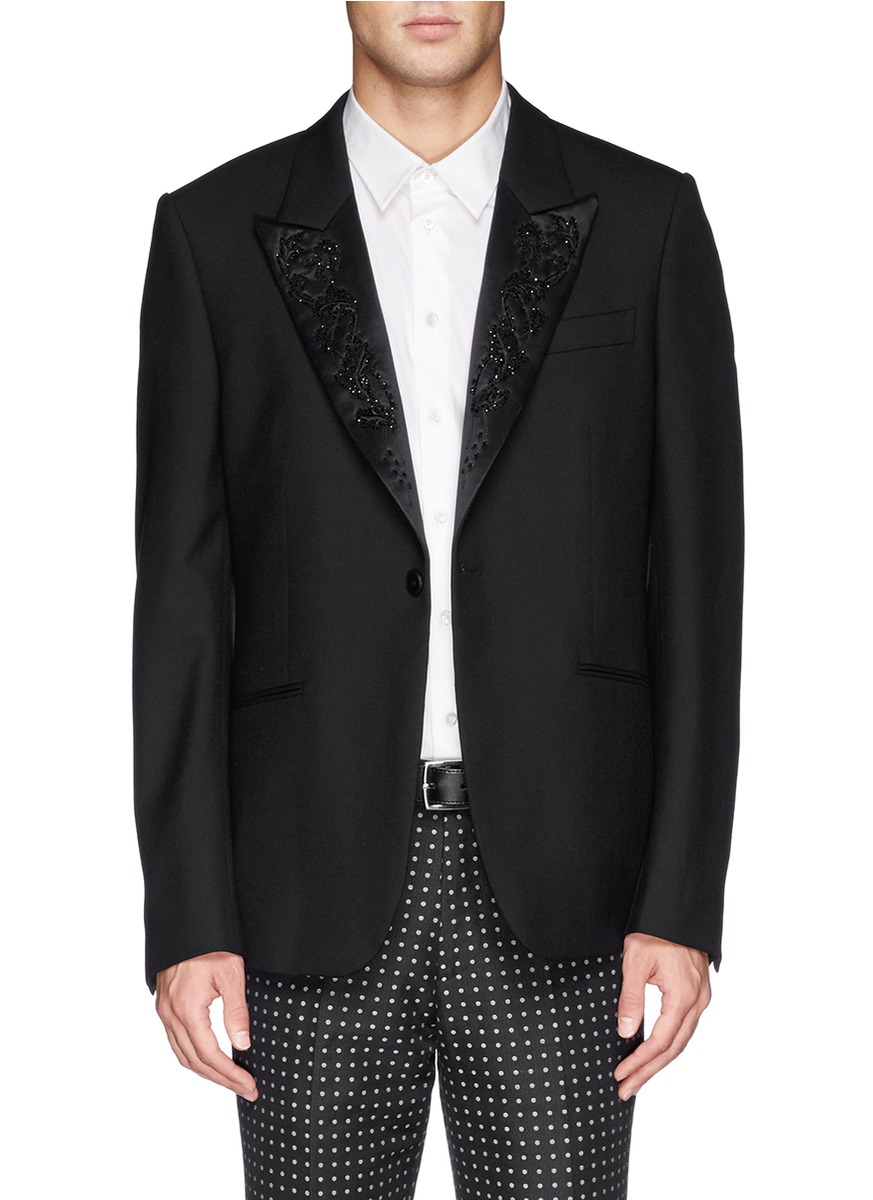 Lyst alexander mcqueen bead floral embroidery lapel