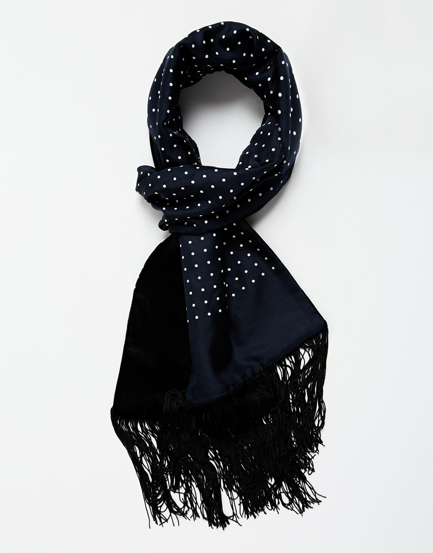 ted baker mrcal silk velvet scarf in blue for lyst
