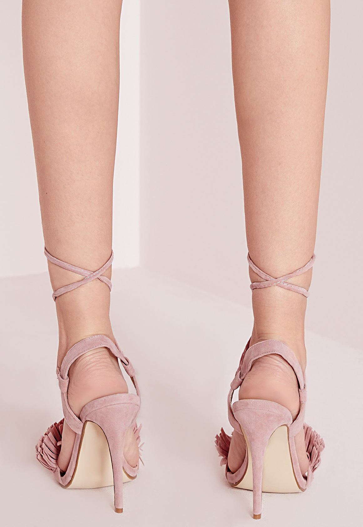 4cd5f346943 Missguided Tassel Detail Barely There Heeled Sandals Pink in Pink - Lyst