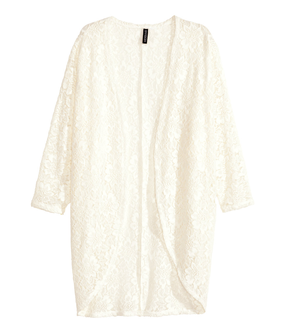 H&m Lace Cardigan in Natural   Lyst