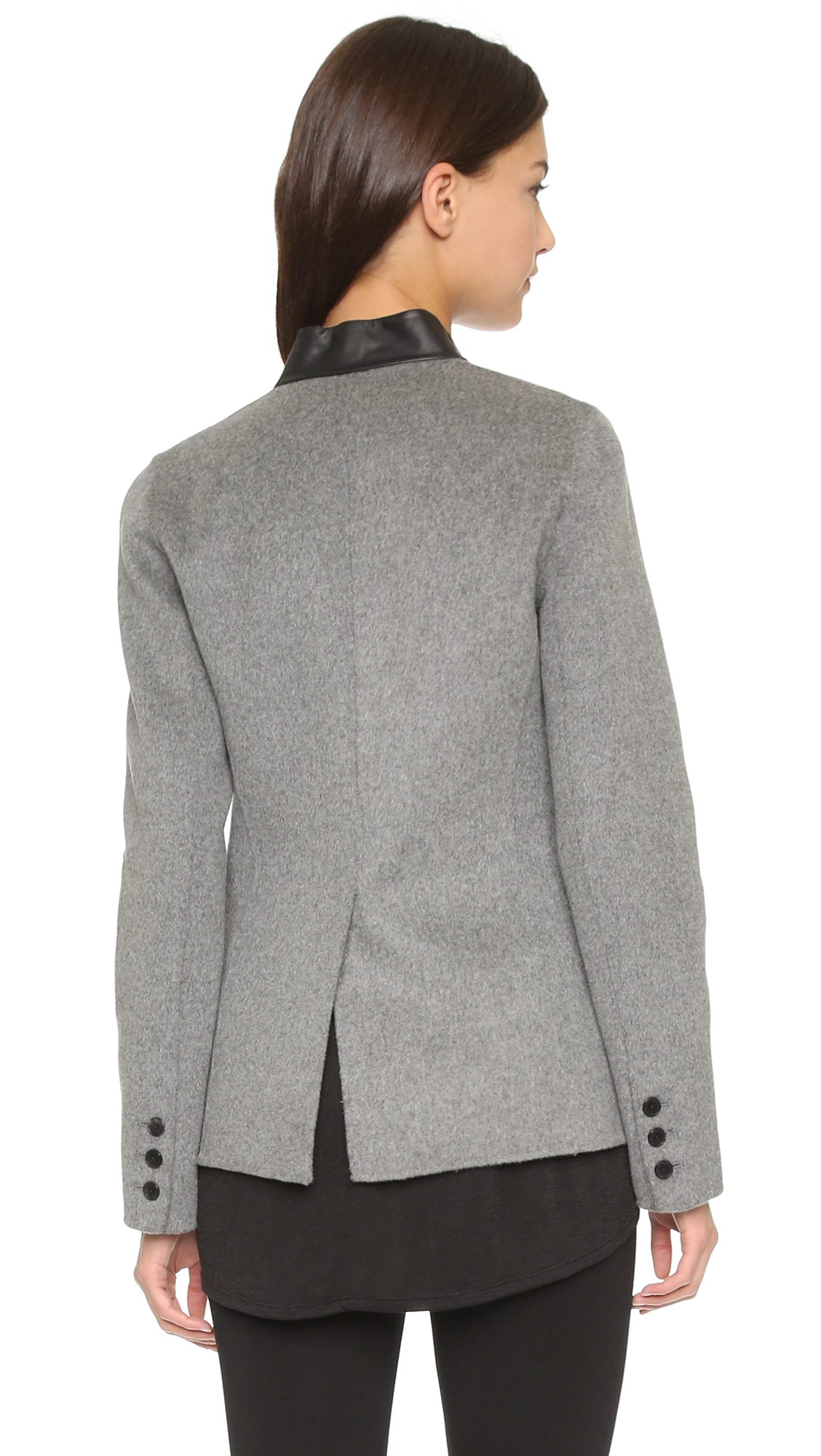 Vince Leather Trim Blazer - Charcoal Melange black in Gray - Lyst 2aef41130b