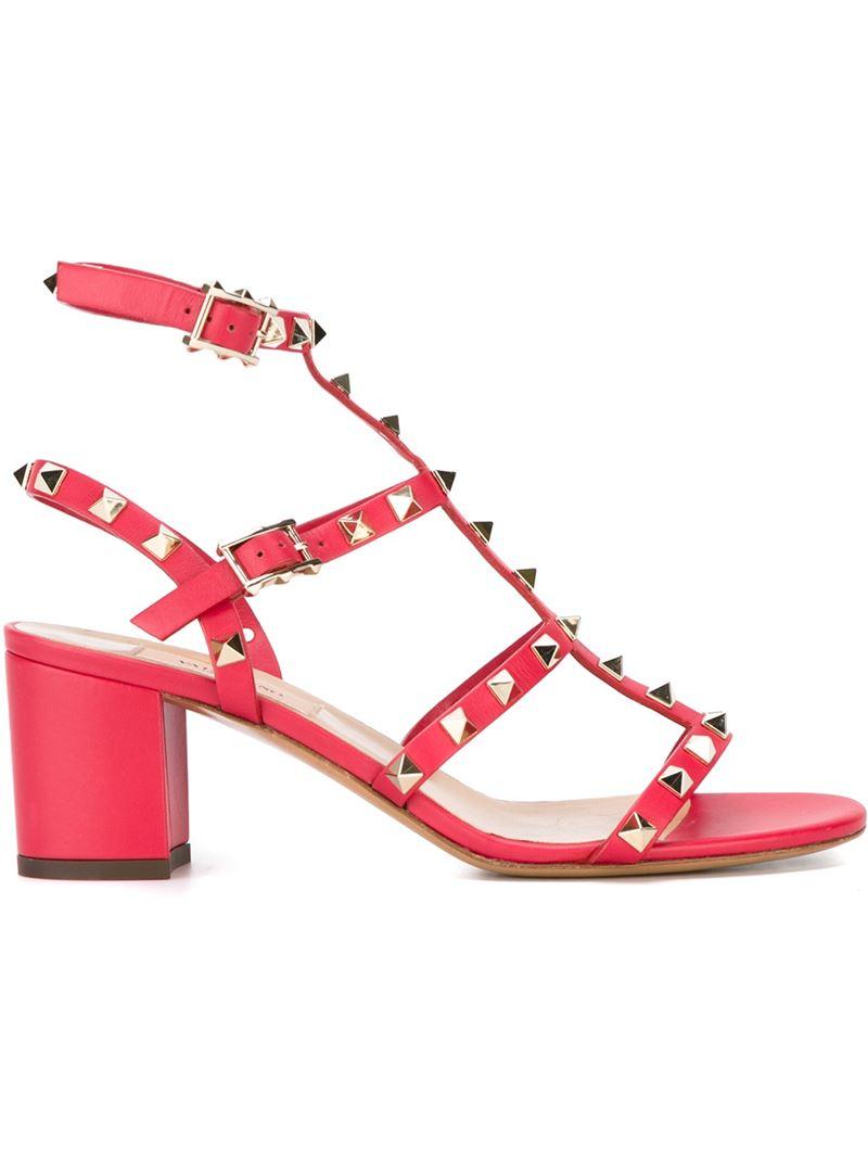 valentino rockstud sandals in pink lyst