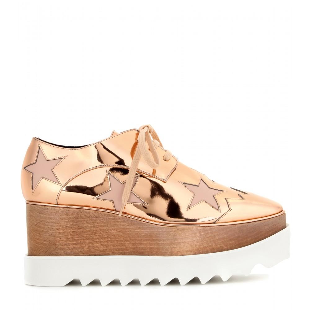 Stella mccartney Elyse Metallic Platform Derby Shoes in Natural | Lyst