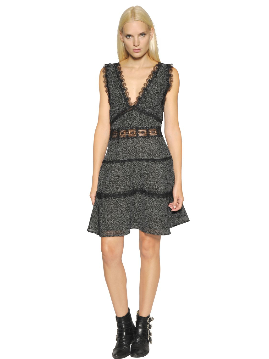 Lyst The Kooples Polka Dot Chiffon Amp Lace Dress In Black