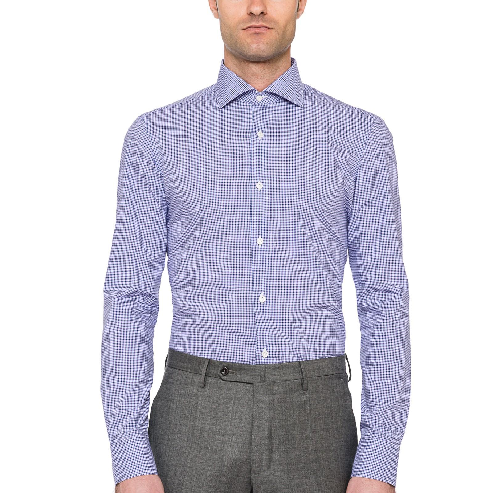 borrelli checked spread collar dress shirt in purple for