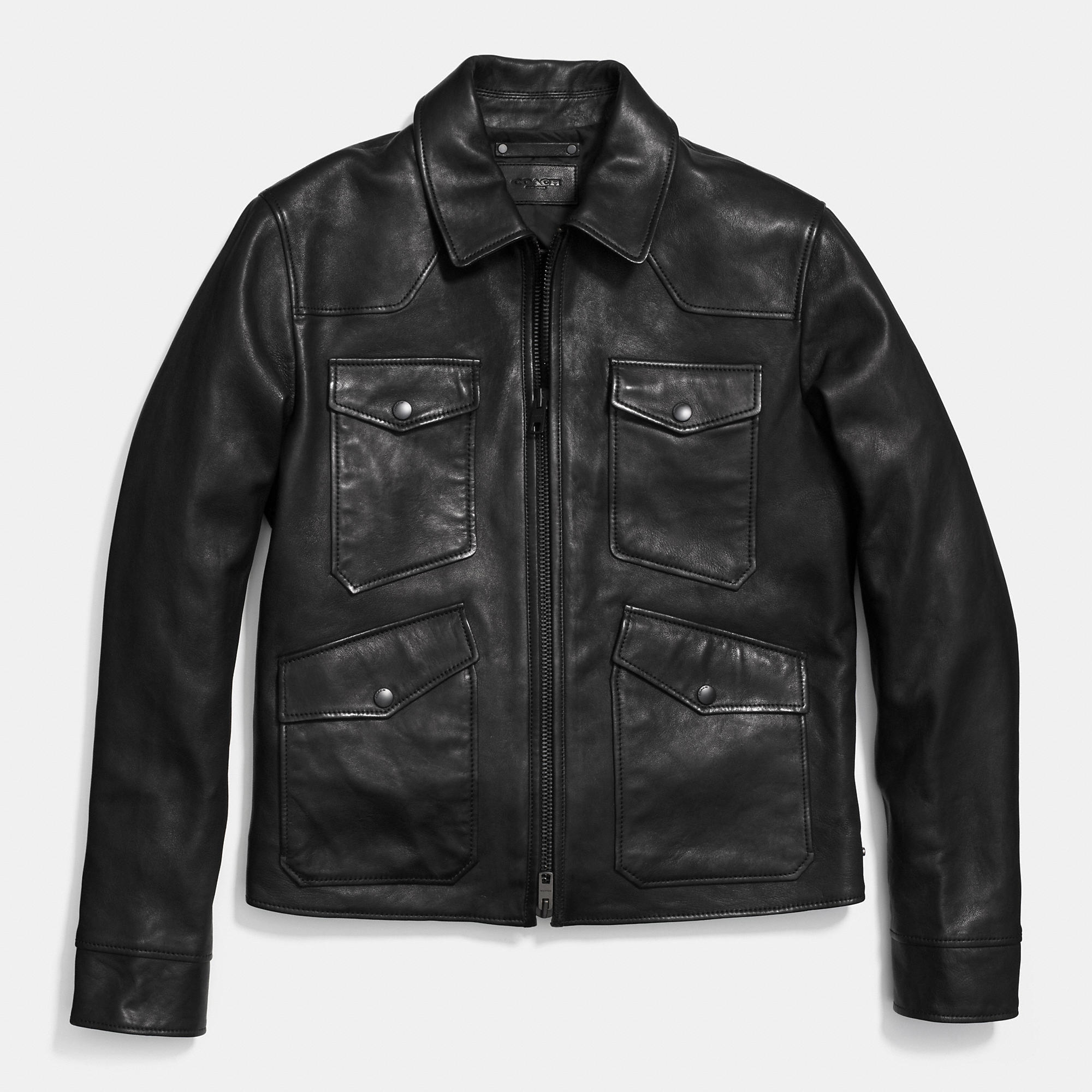 Coach Four Pocket Leather Jacket In Black For Men Lyst
