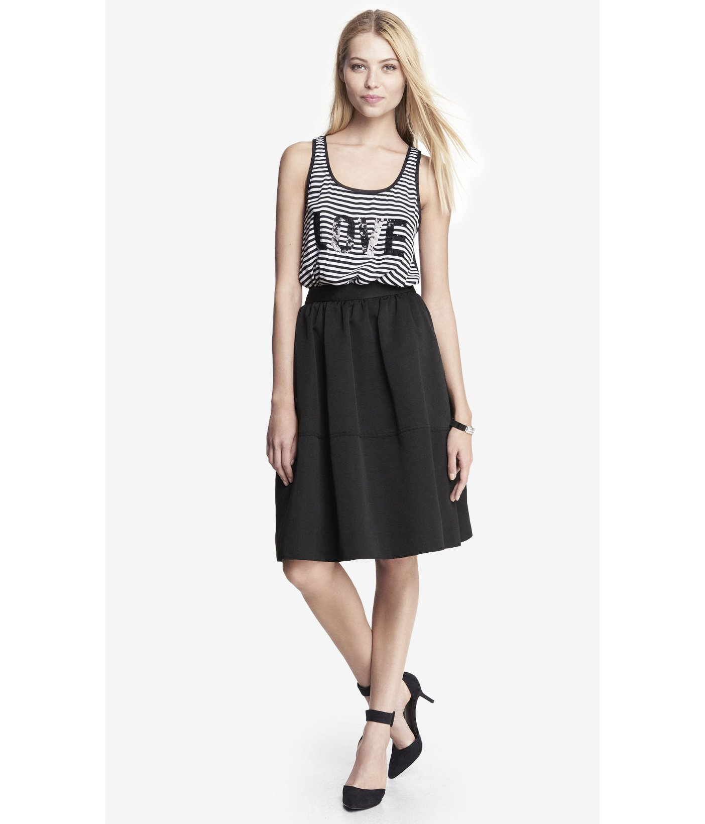 express high waist midi skirt in black pitch black