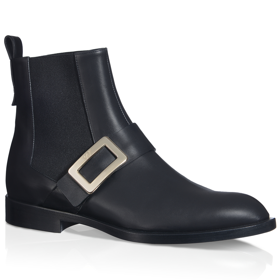 roger vivier buckle ankle boots in leather in black lyst