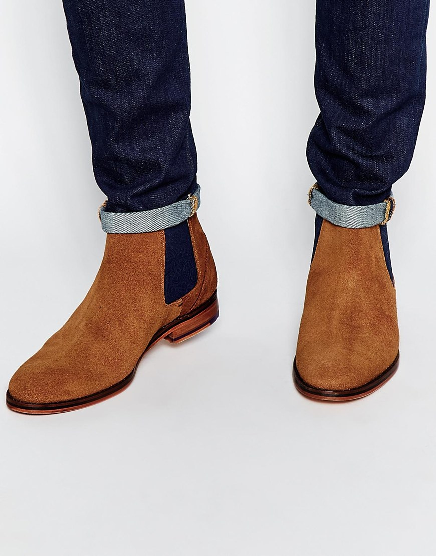 Lyst Ted Baker Camroon Suede Chelsea Boots In Brown For Men