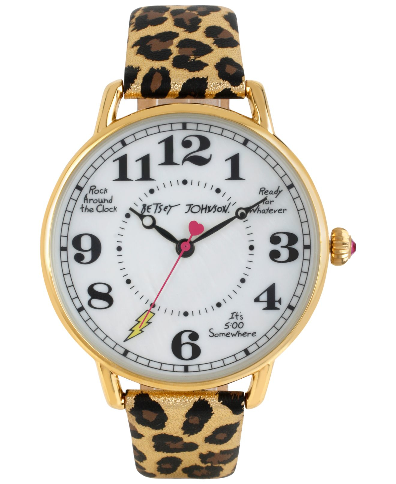 betsey johnson s gold tone leopard print leather