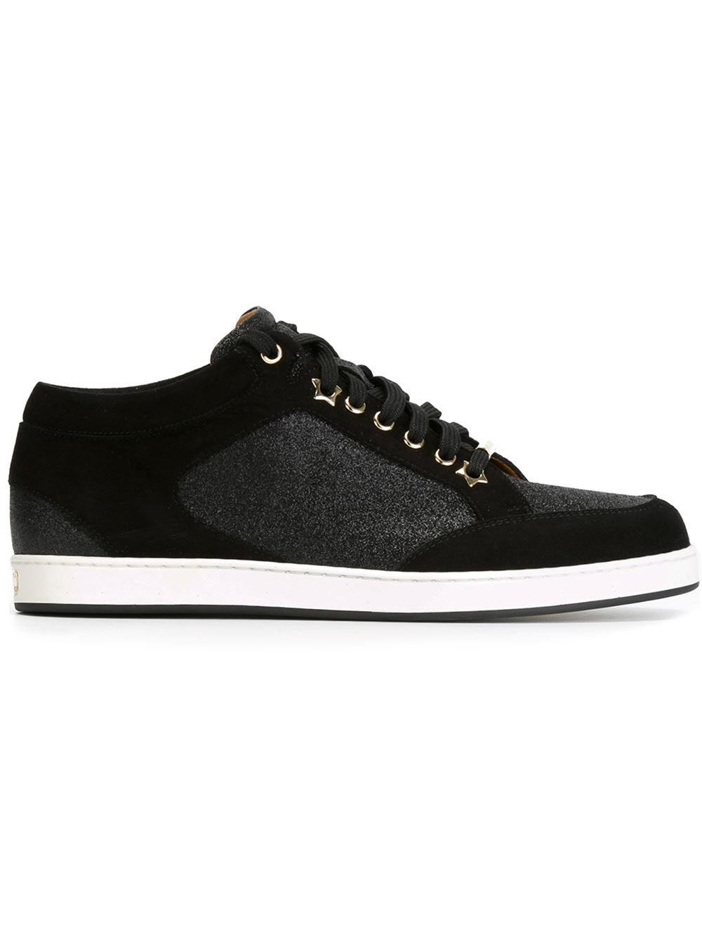 jimmy choo 39 miami 39 sneakers in black lyst. Black Bedroom Furniture Sets. Home Design Ideas