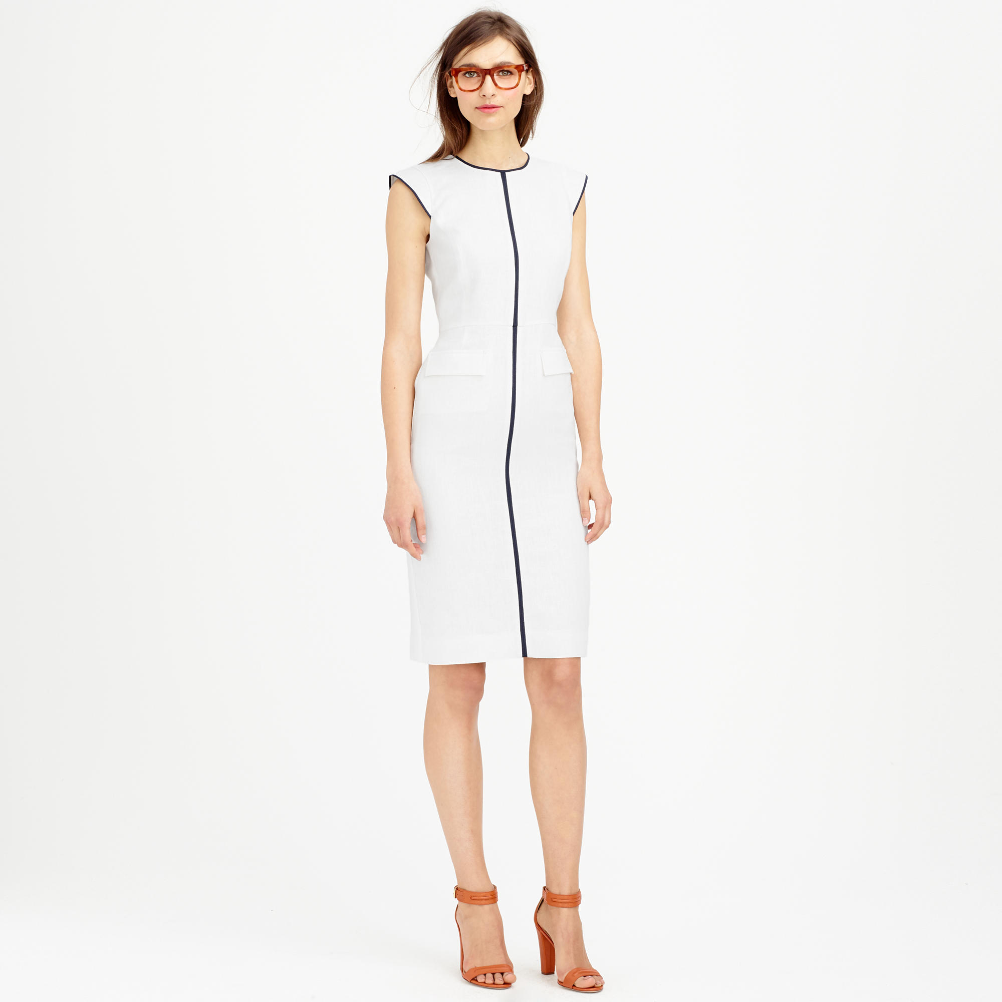 b61ca2c919b Lyst - J.Crew Petite Patch-pocket Sheath Dress In Tipped Linen in White