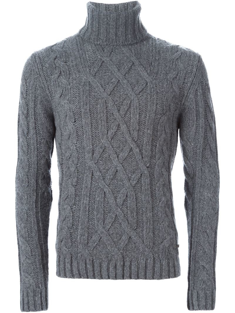 Woolrich Cable Knit Turtleneck Sweater in Gray for Men | Lyst