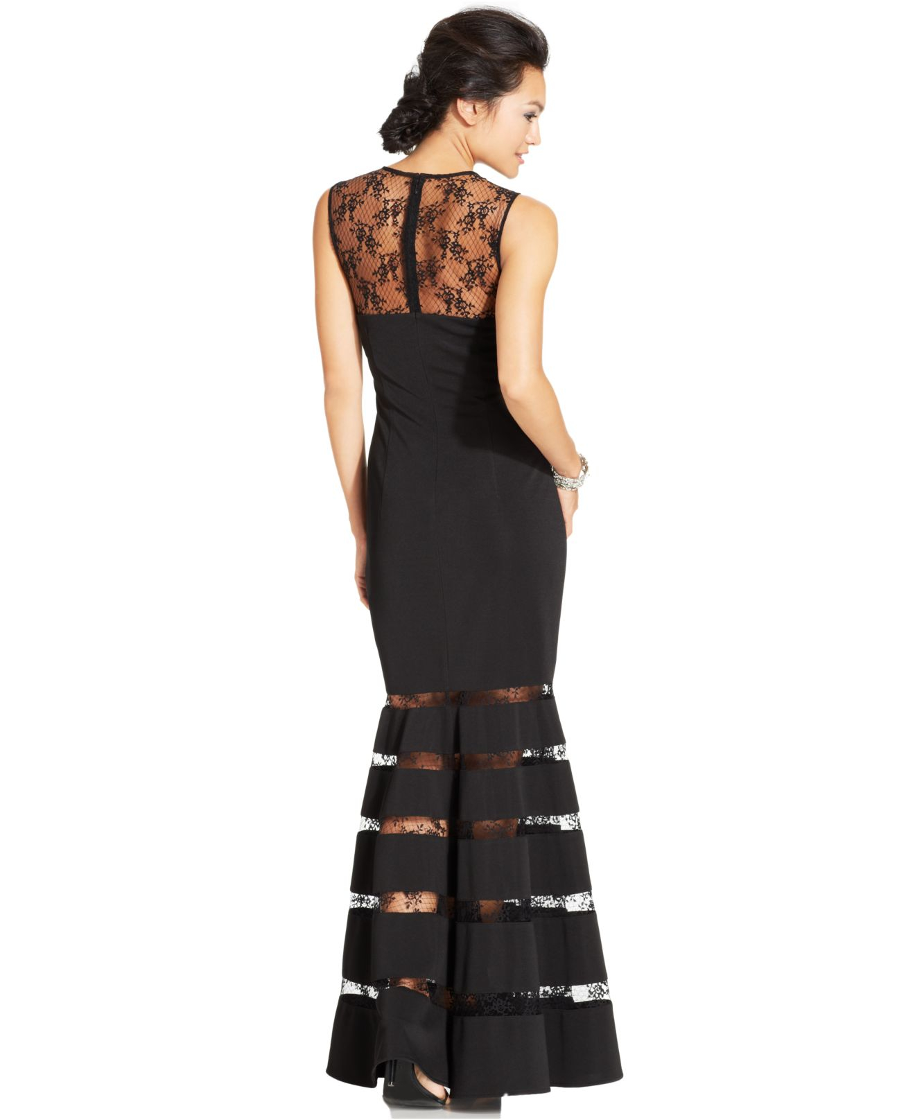 Lyst - Js Collections Illusion Lace Mermaid Gown in Black