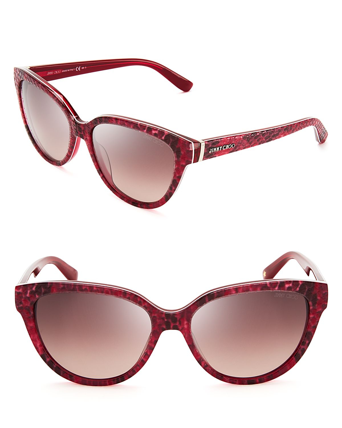 0fcabe6cb03 Lyst - Jimmy Choo Odette Pythonprint Cat Eye Sunglasses in Red