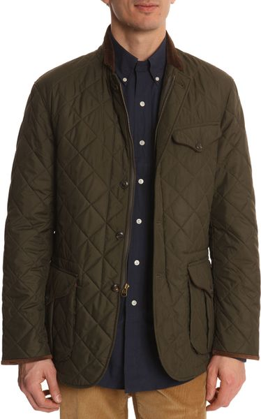 Polo Ralph Lauren Khaki Quilted Jacket With Suede Elbow