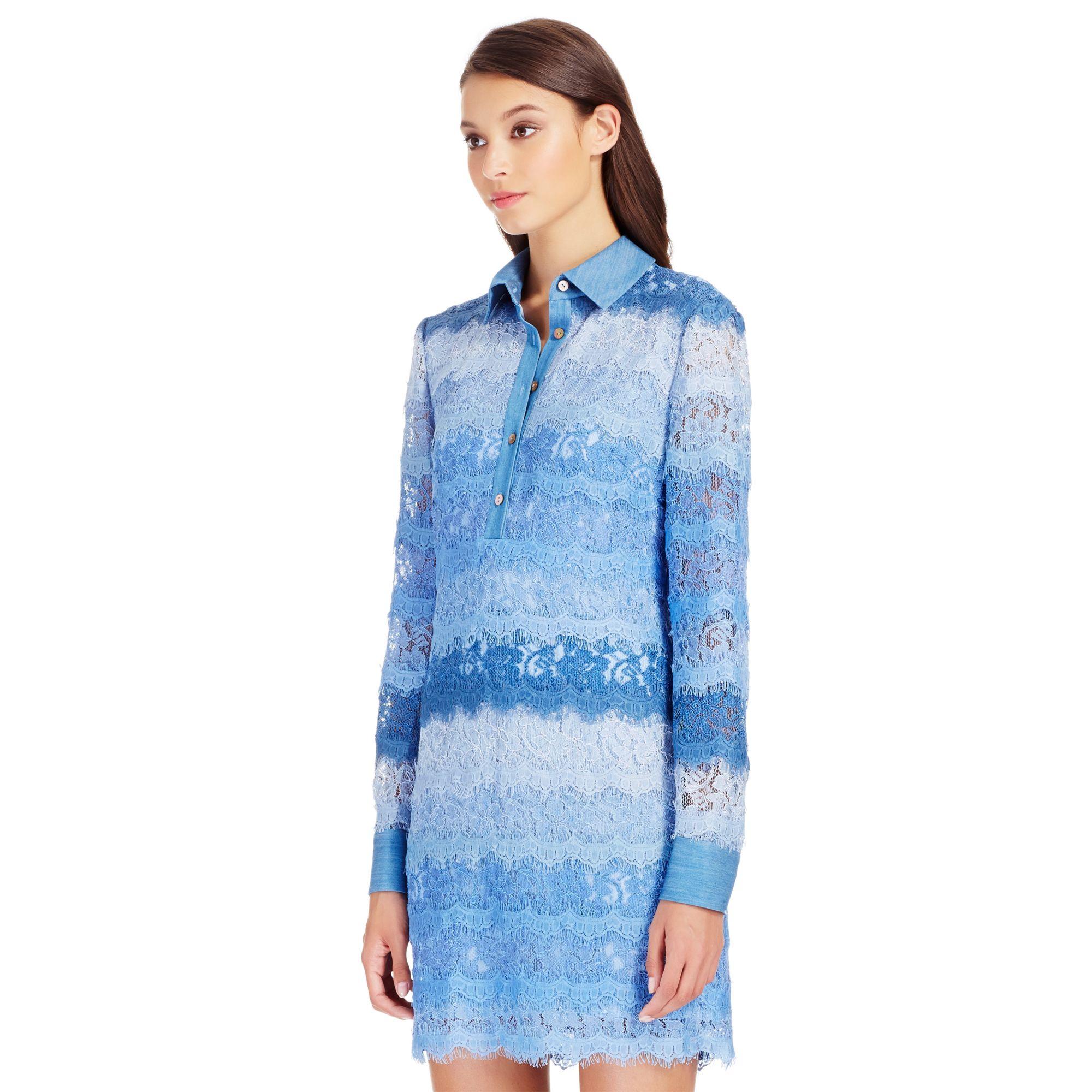 Lyst diane von furstenberg dvf amora denim and lace for Diane von furstenberg shirt