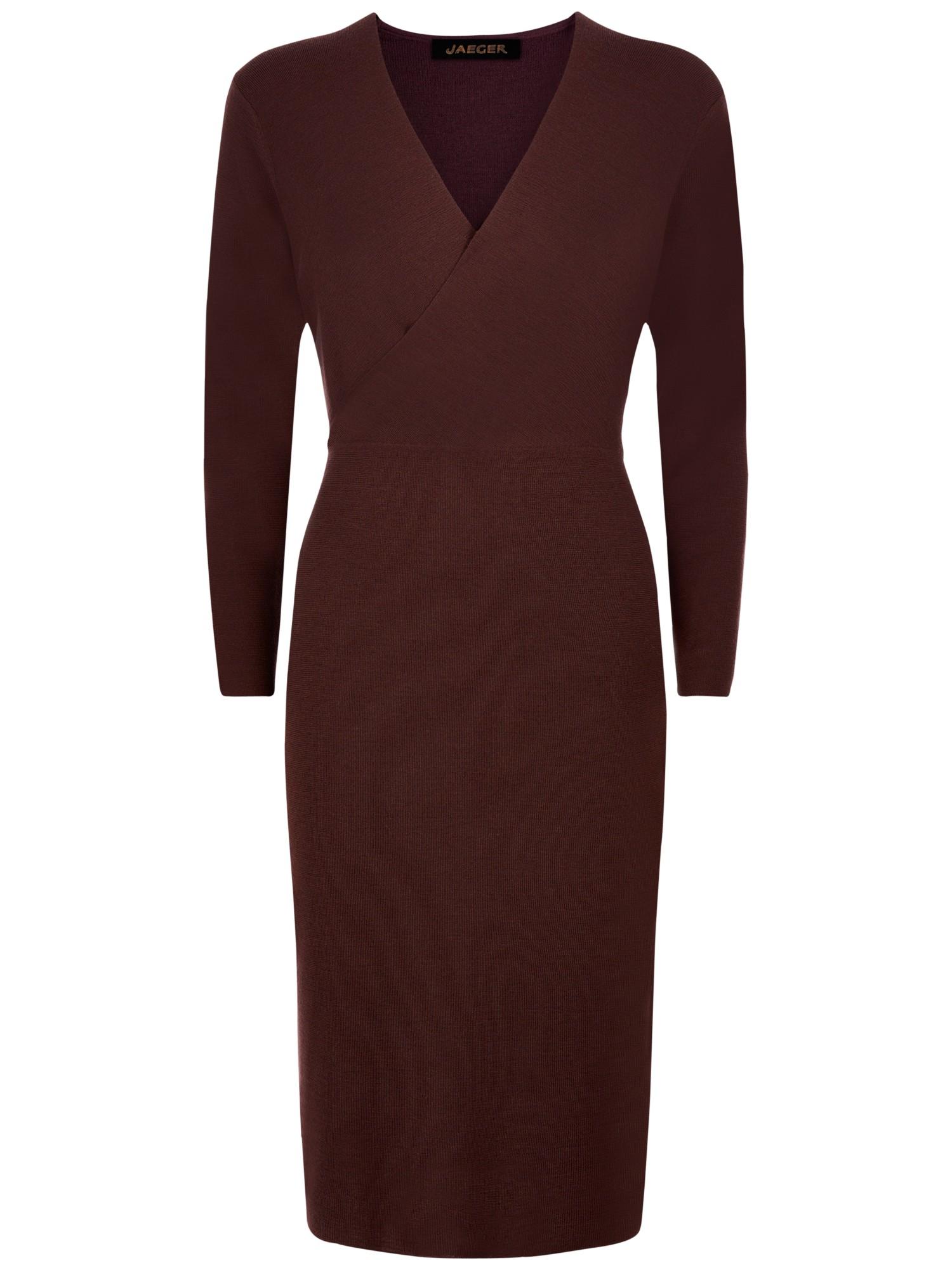 Jaeger Wool Knit Wrap Dress In Brown Lyst