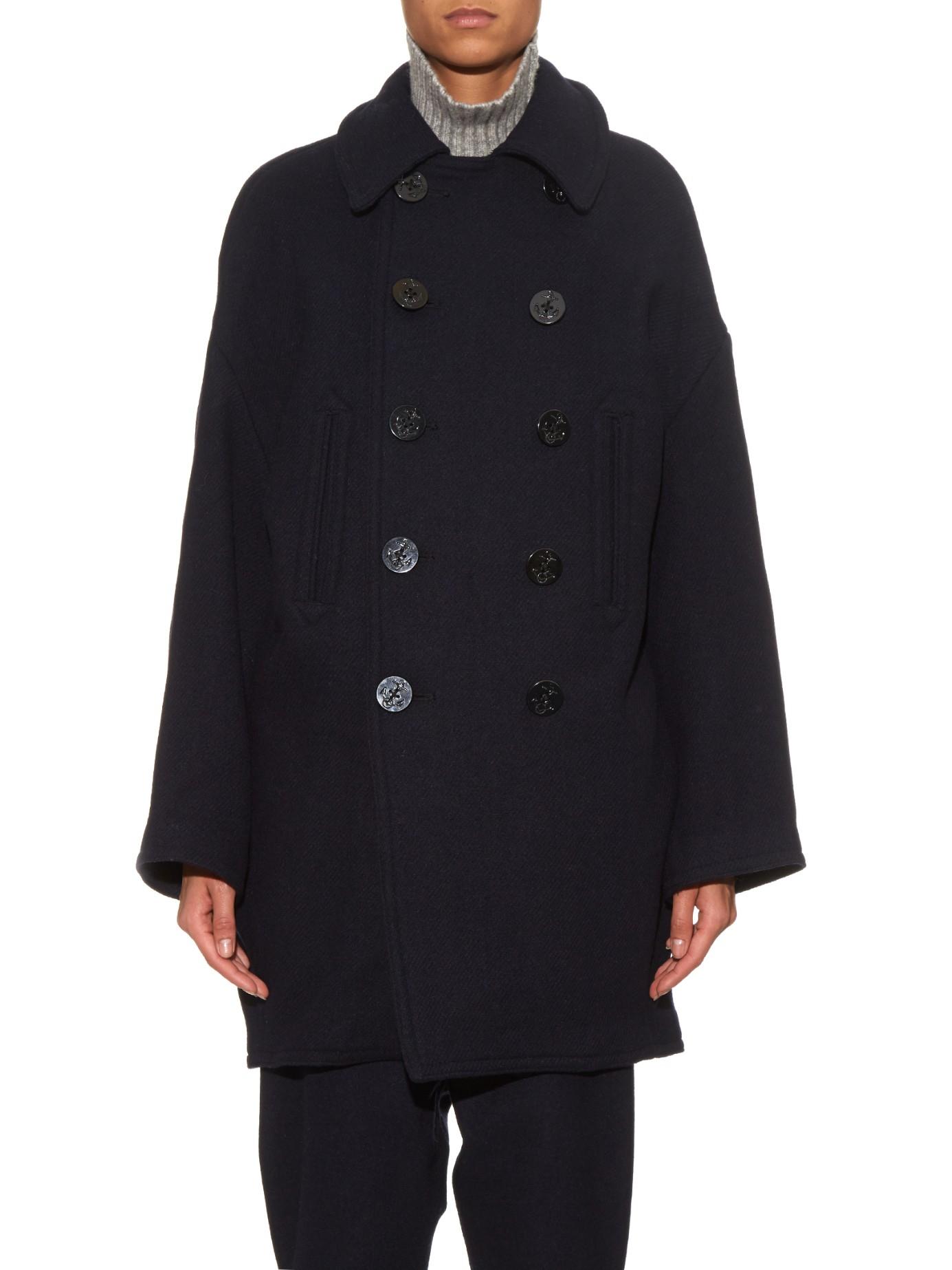 Nlst Melton Wool-blend Coat in Blue | Lyst