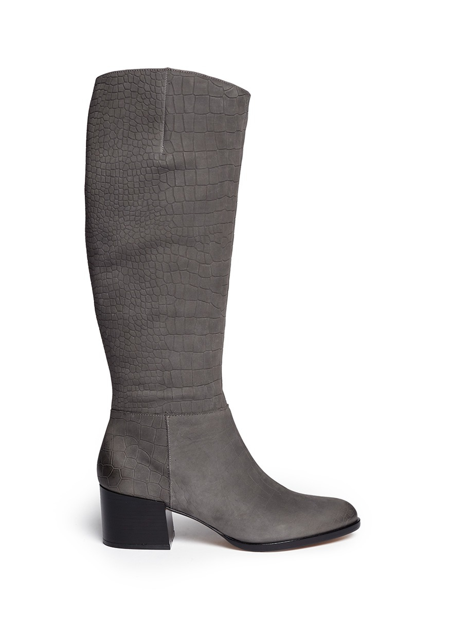 d6d24a034bc2b Sam Edelman  joelle  Croc Embossed Suede Boots in Gray - Lyst