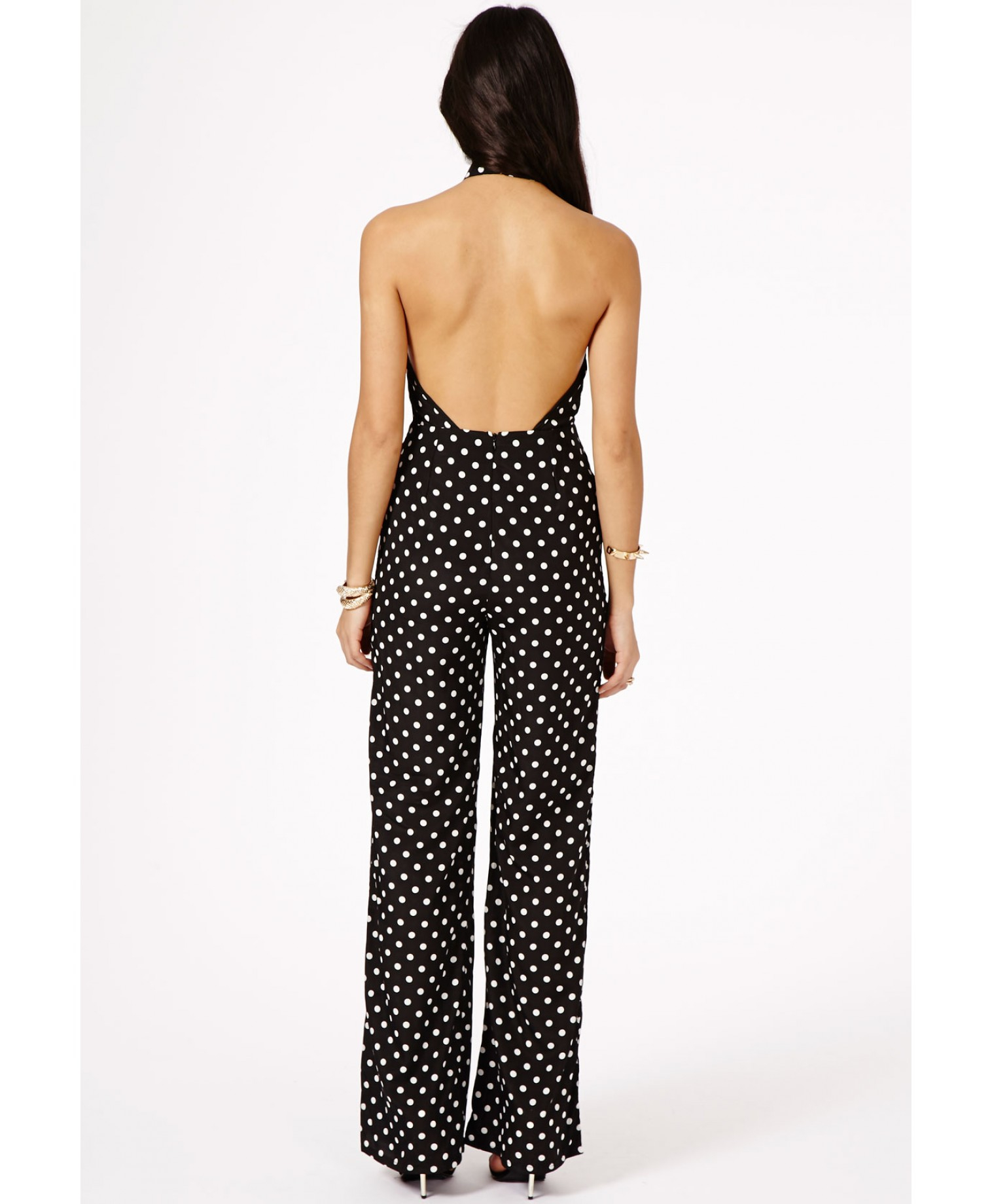 e326fd2f672 Missguided Maiko Polka Dot Jumpsuit in Black - Lyst