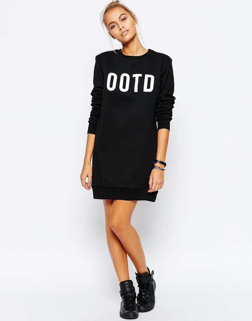 Adolescent clothing Boyfriend Sweater Dress With Ootd Print in ...