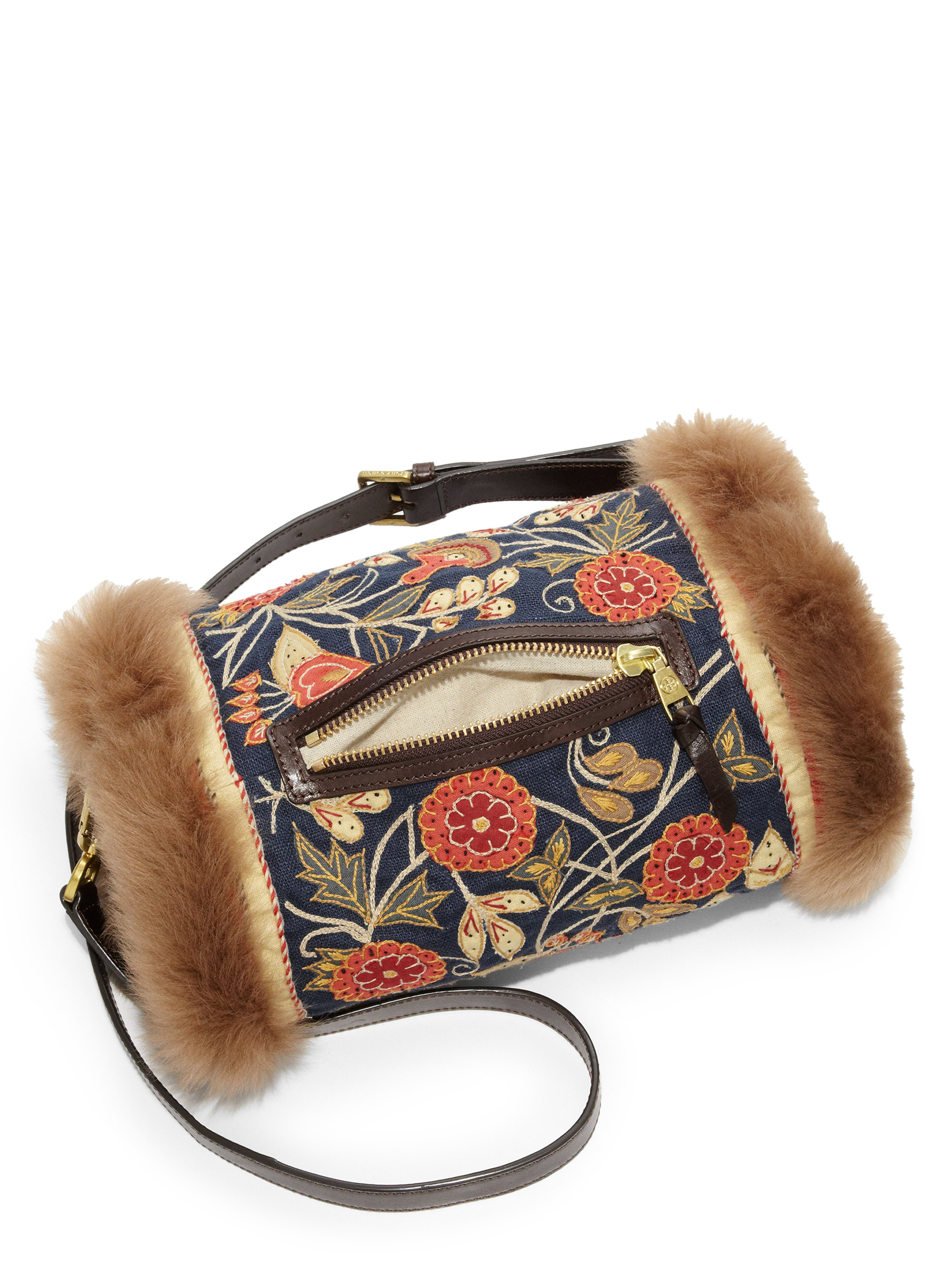 Lyst Tory Burch Tapestry Fur Muff Bag