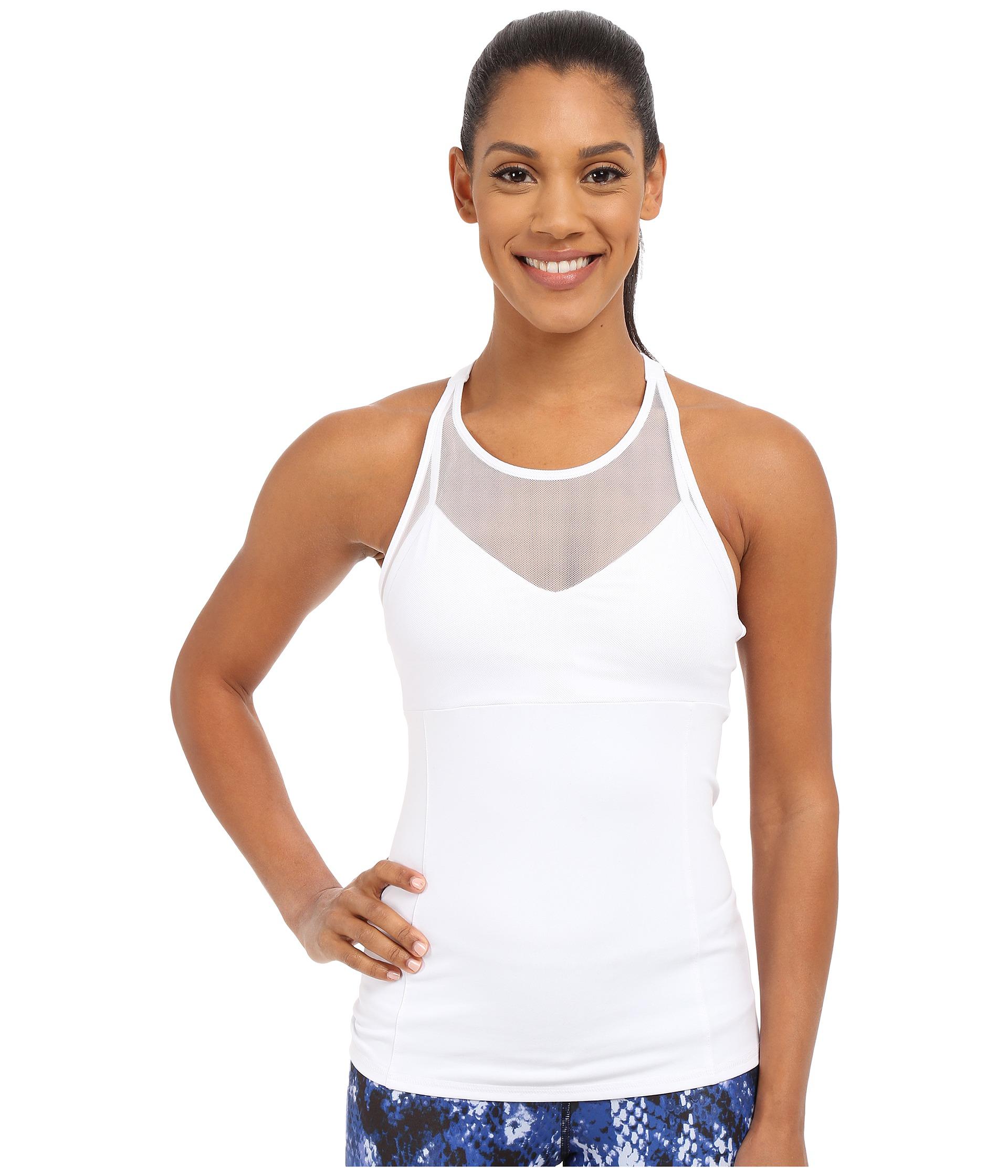 Lyst Alo Yoga Carmen Bra Tank Top In White