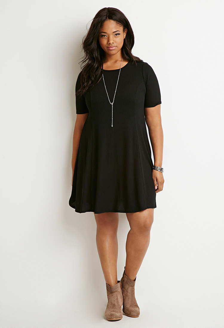 Forever 21 Ribbed Sweater Dress in Black | Lyst