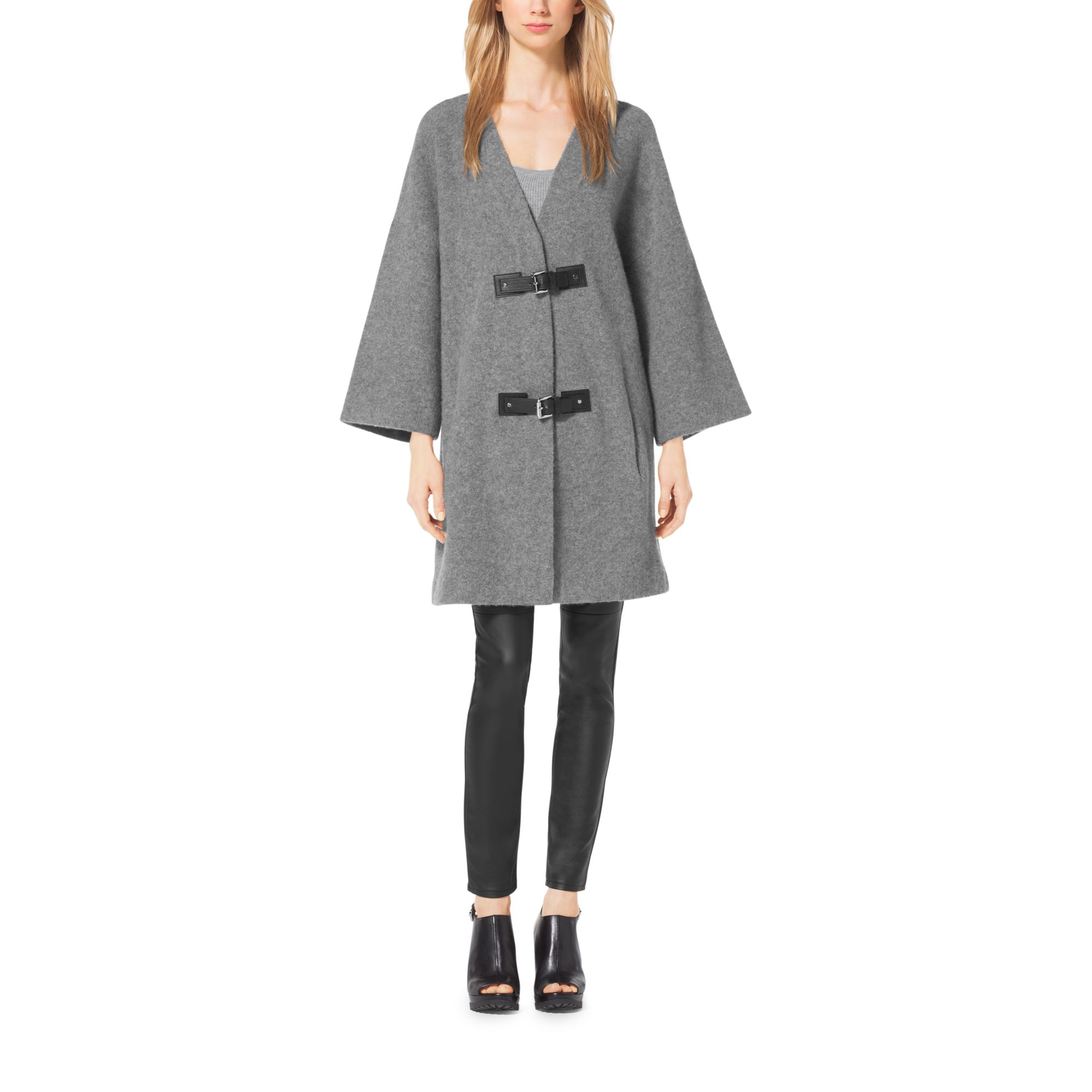 Michael kors Buckled Merino Wool Sweater Coat, Plus Size in Gray ...