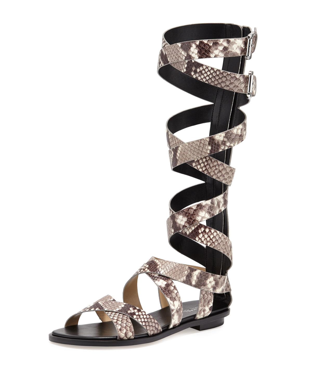 0f7466509873 Lyst - MICHAEL Michael Kors Darby Snake-Embossed Gladiator Sandals ...