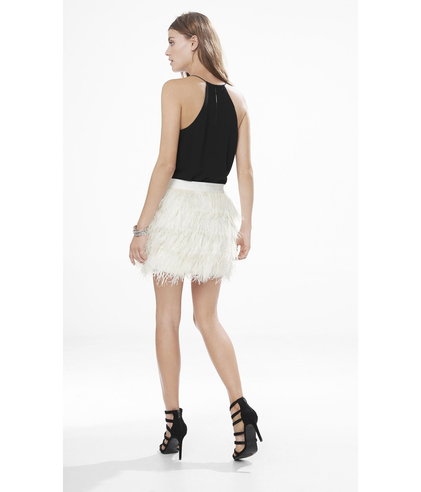 Express White Ostrich Feather Fringe Mini Skirt In White
