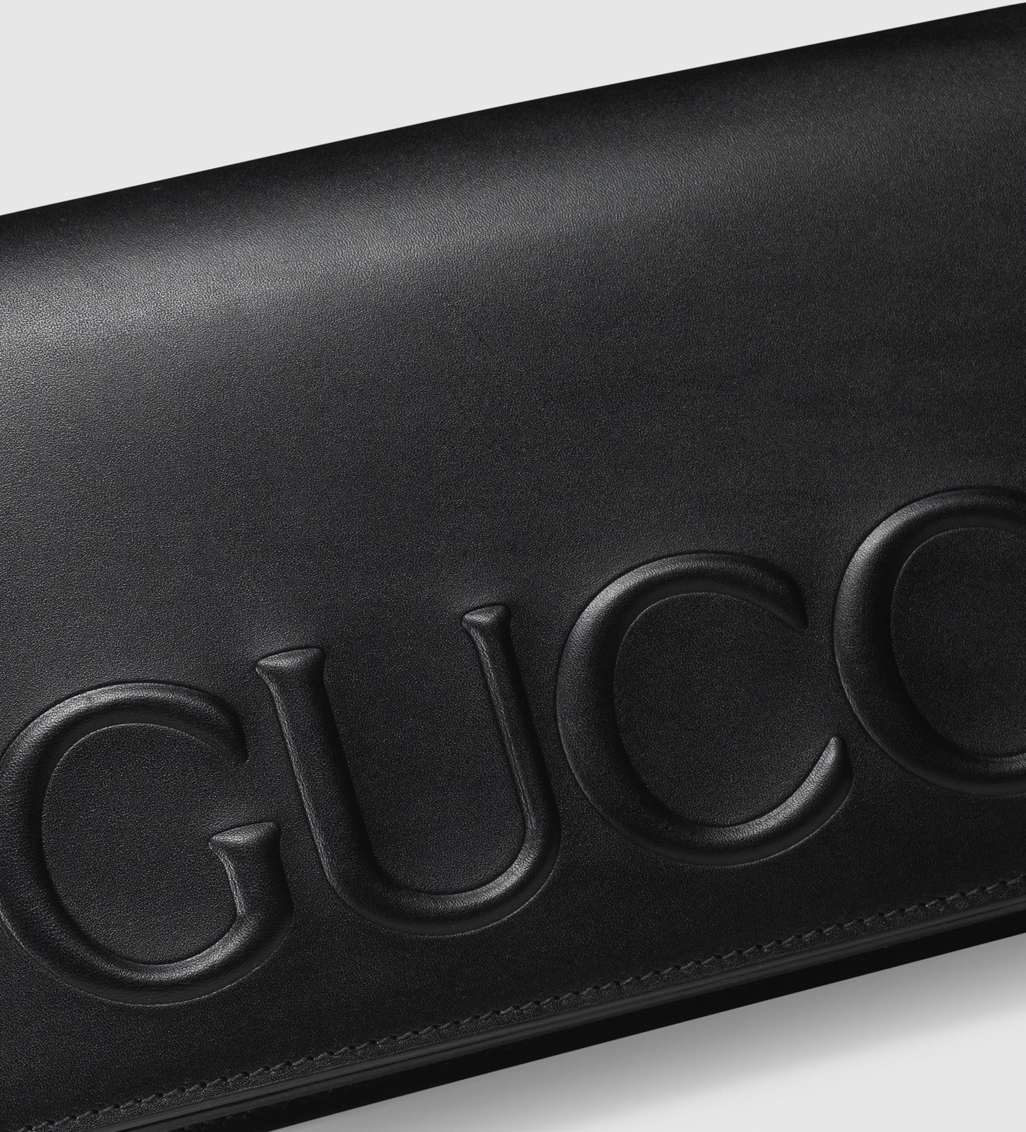 gucci xl leather mini bag in black lyst