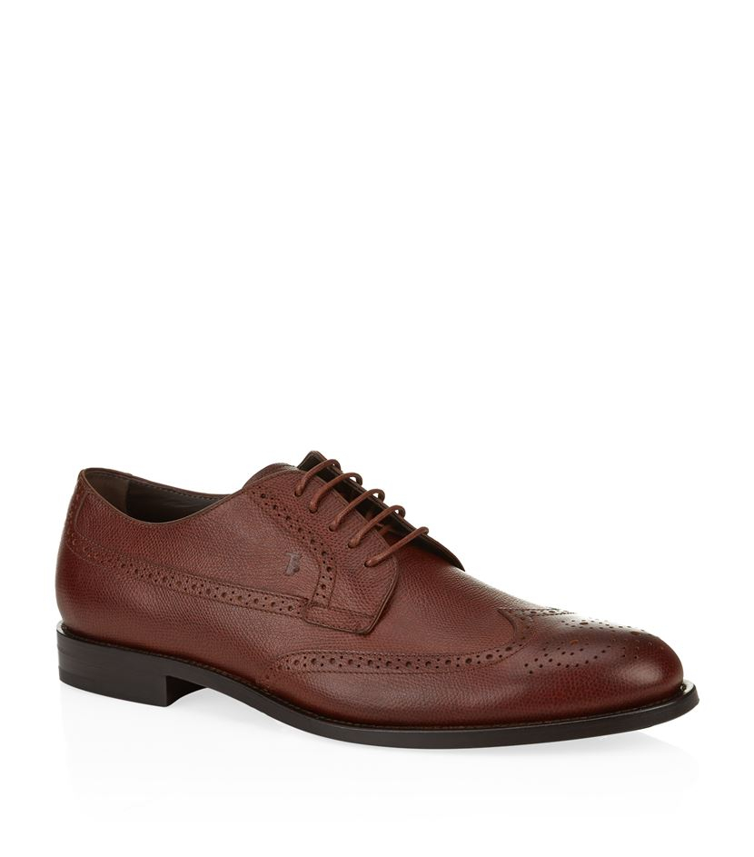 tod s grain leather wingtip derby shoe in brown for lyst
