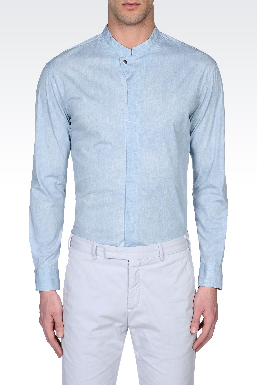 Lyst Armani Stretch Cotton Shirt With Mandarin Collar In