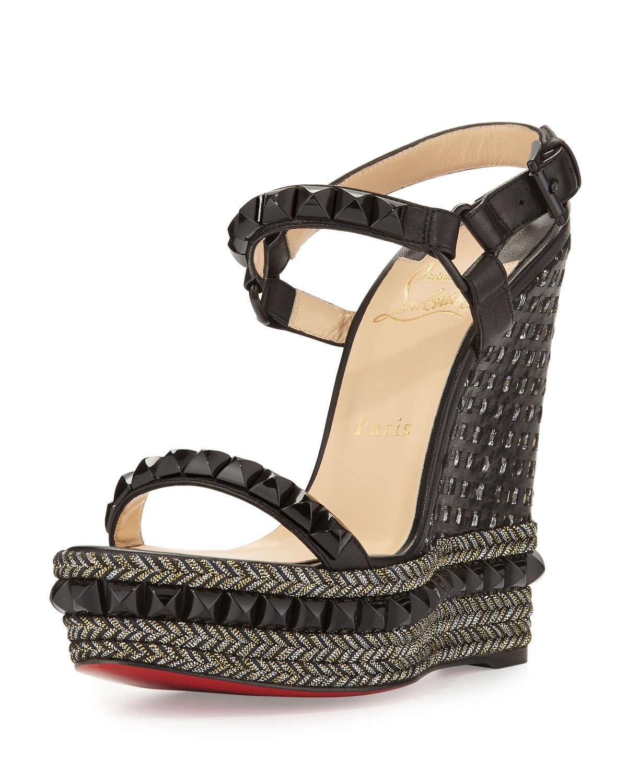 christian louboutin cataclou studded denim espadrille wedge sandals