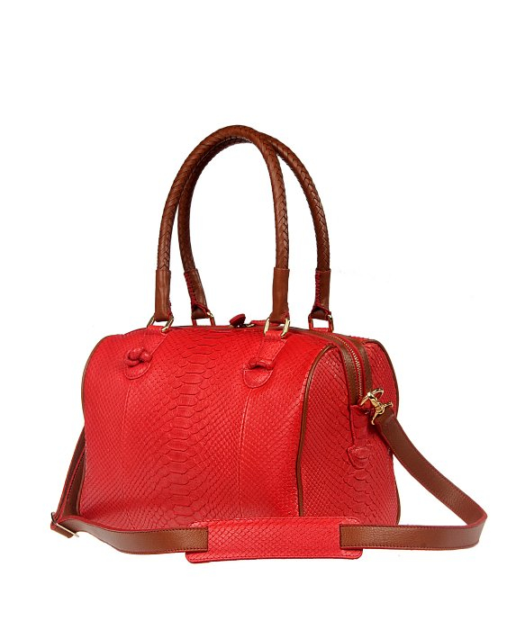 Cashhimi Tampa Python Bowling Bag in Red | Lyst