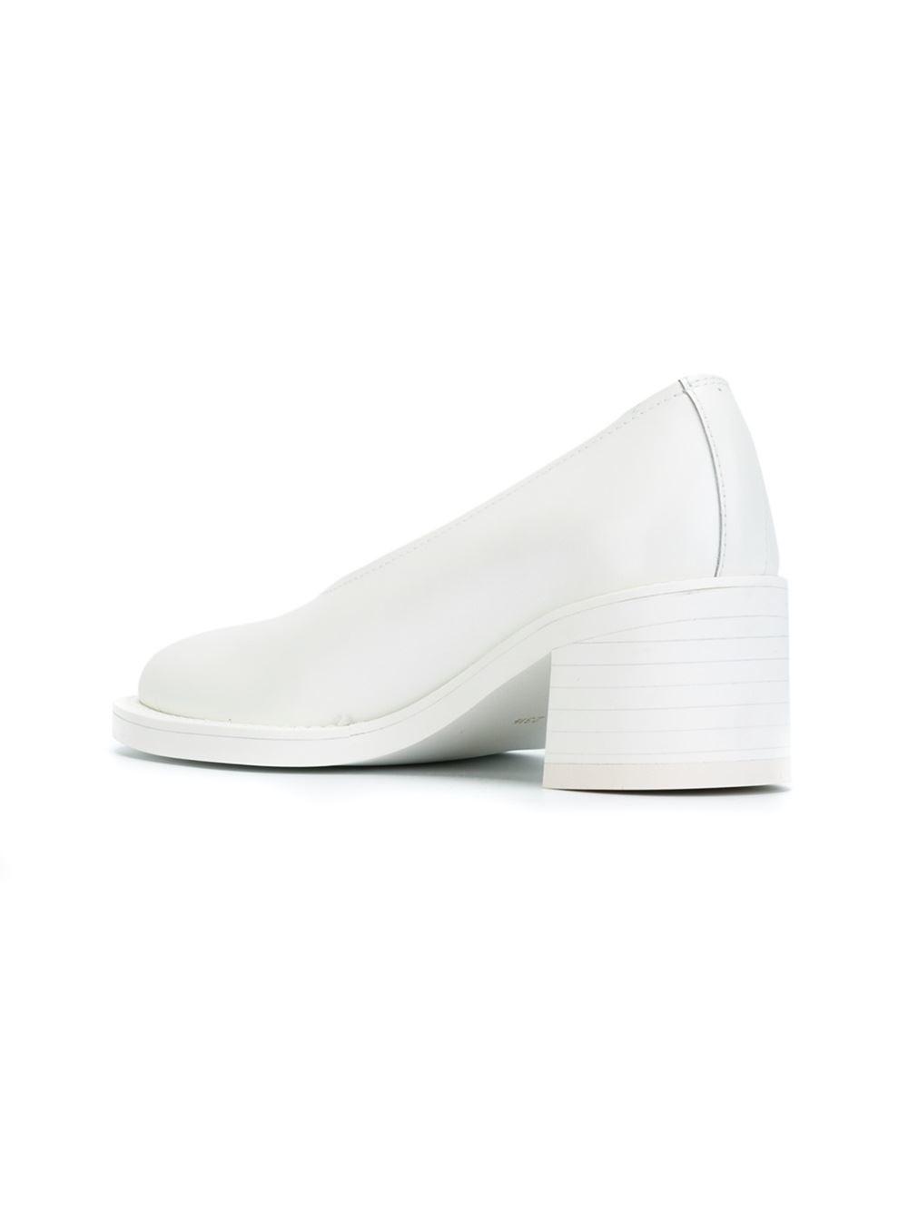 white chunky heel shoes is heel