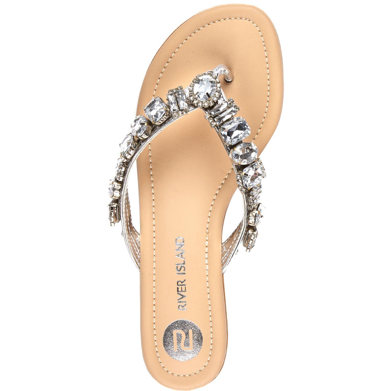 Silver Gemstone Embellished Sandals River Island
