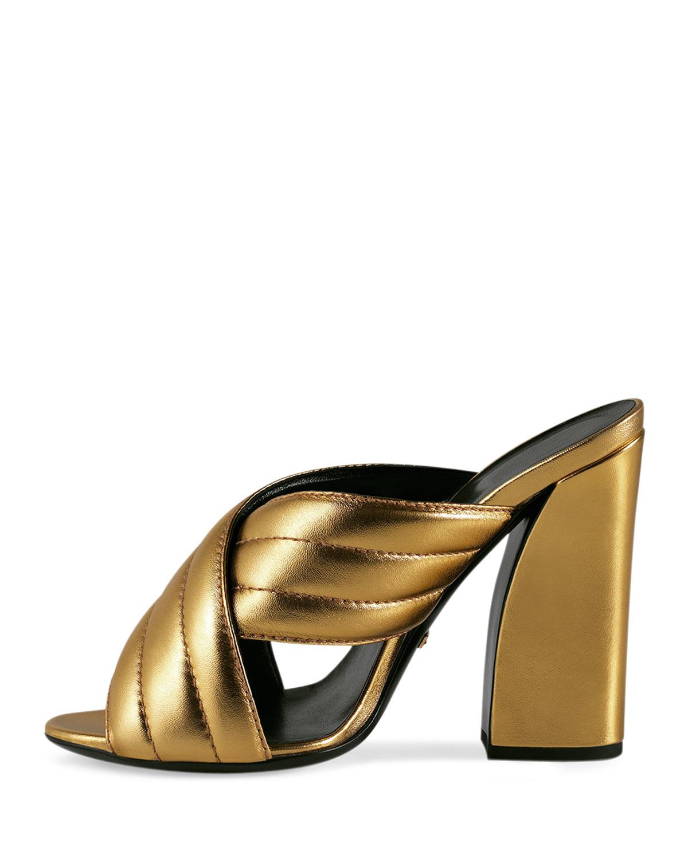 a7f814db9 Gucci Webby Metallic Sandals in Metallic - Lyst