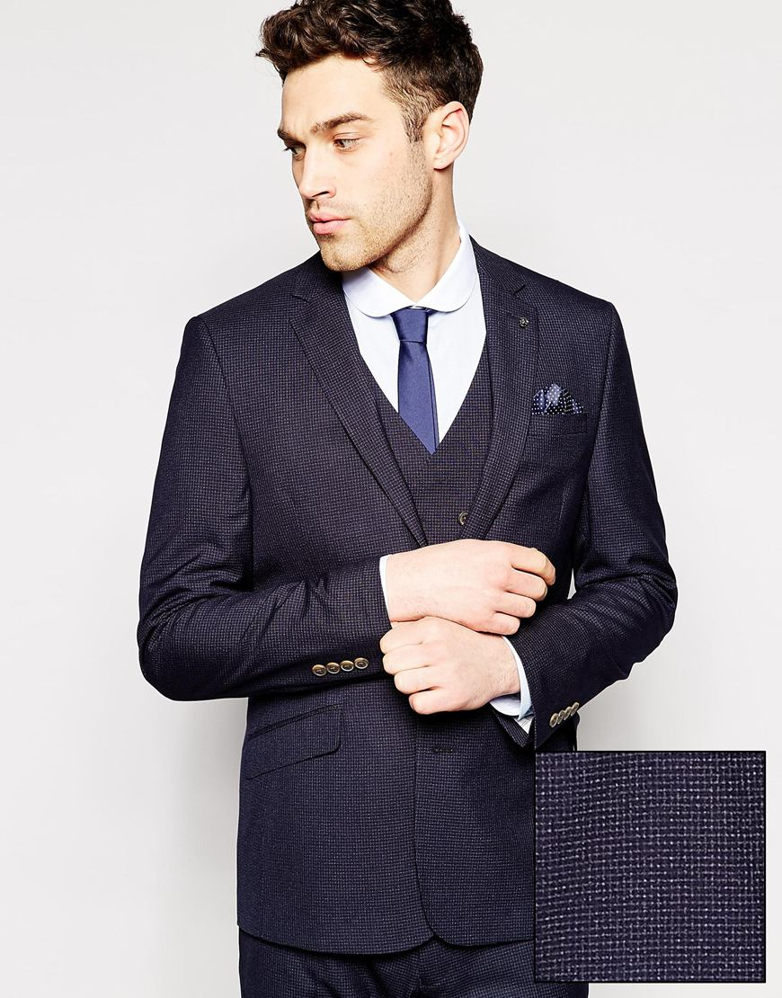 Asos Slim Fit Suit Jacket In Mini Check in Blue for Men | Lyst