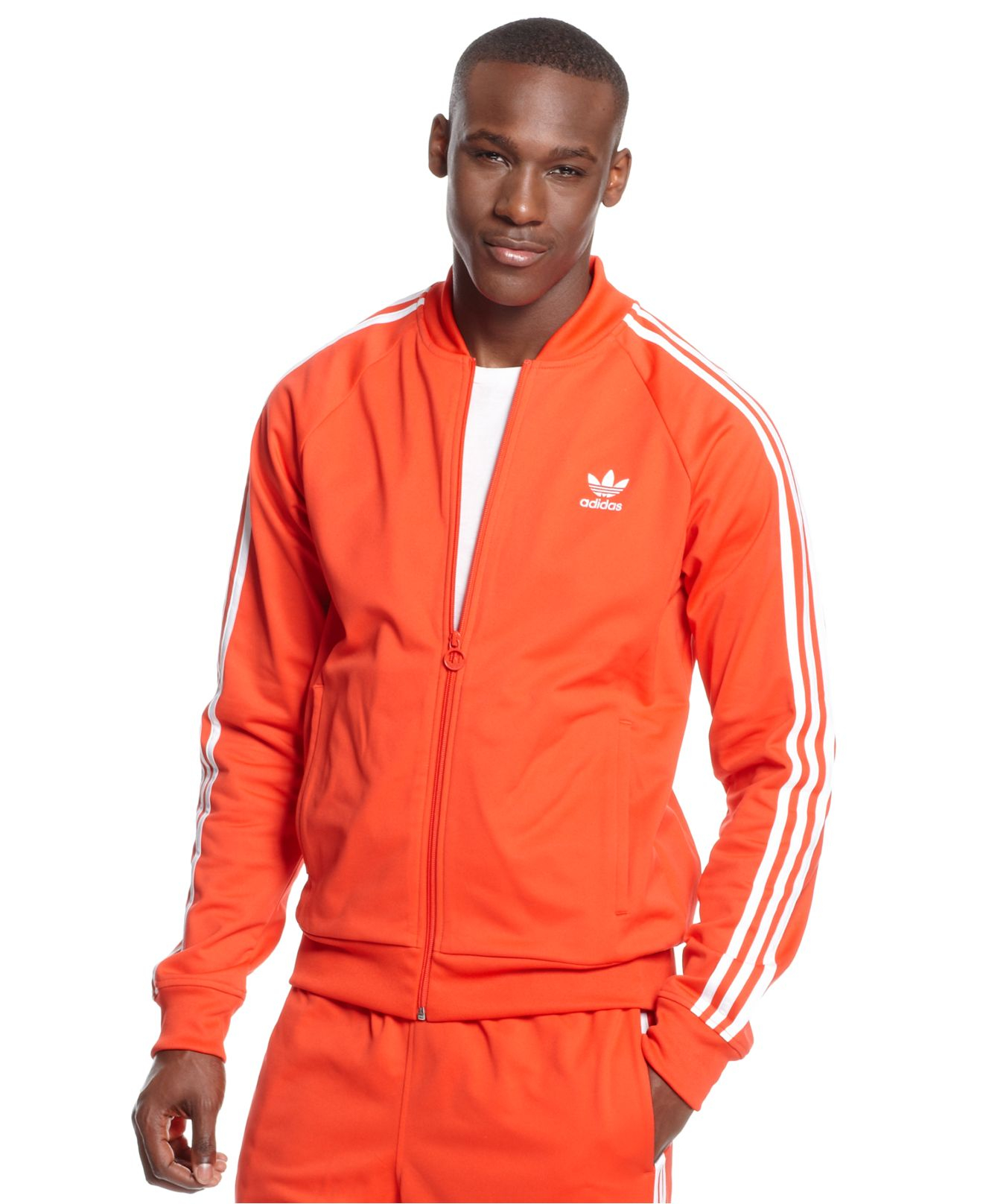 adidas mens superstar jacket red / white stripes