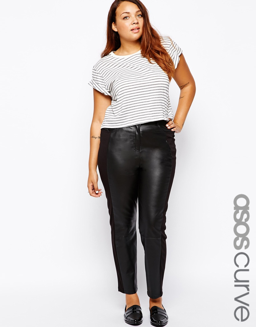 f5cca4954f8 Lyst - ASOS Exclusive Leather Front Trousers With Ponti Back in Black