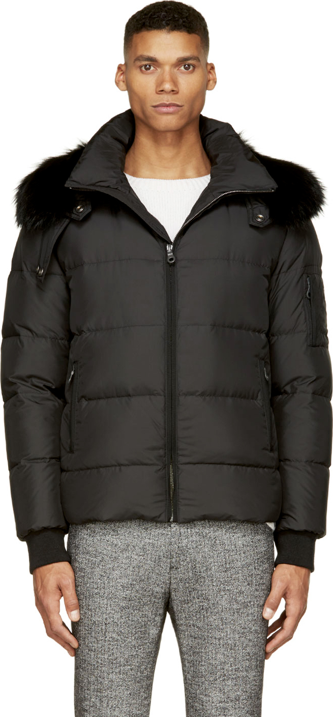 Yves salomon Black Fur Lined Collar Down Coat in Black for Men | Lyst
