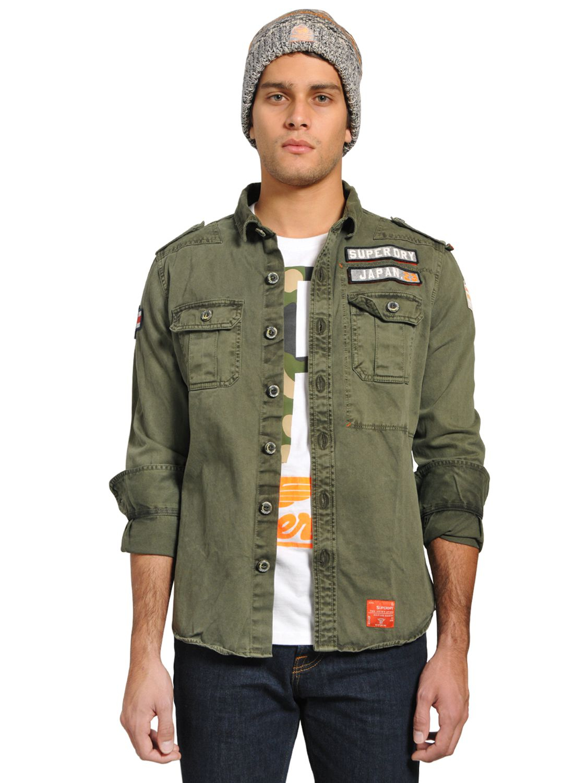 Lyst Superdry Ls Delta Military Cotton Gabardine Shirt