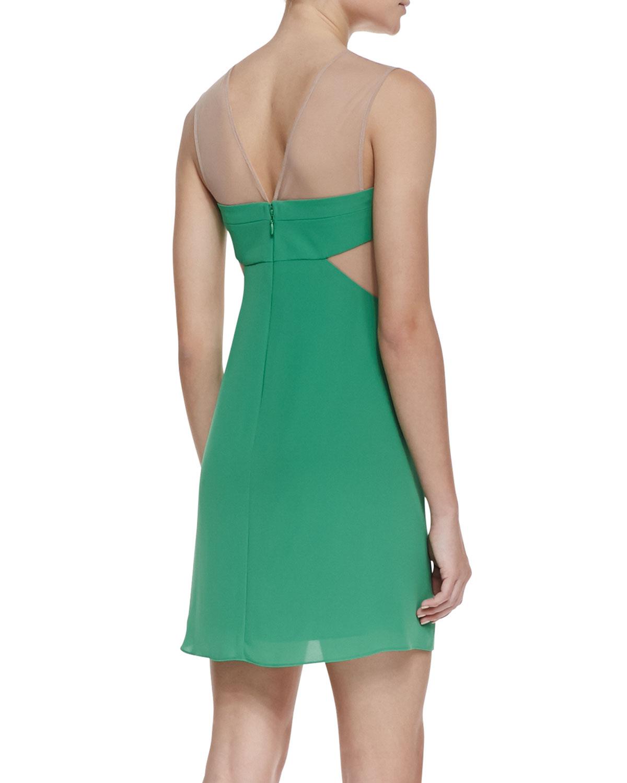 Lyst - Bcbgmaxazria Aicha Crepemesh Party Dress in Green
