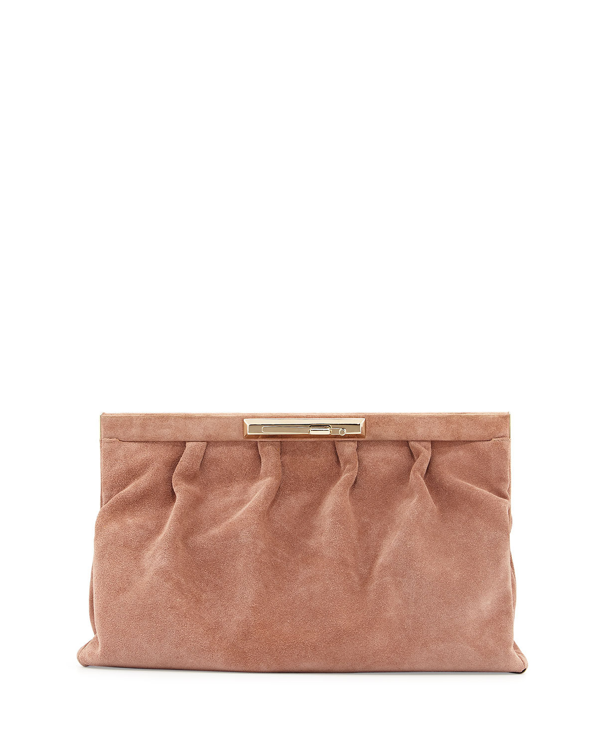 Valentino Pleated Suede Large Clutch Bag in Brown | Lyst